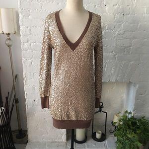J.Crew gold sequence sweater dress